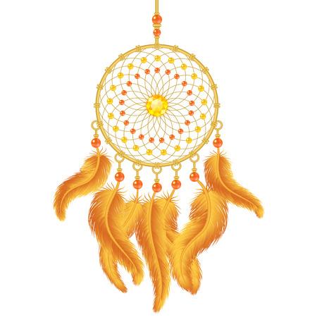 atrapasueños: Cazador de sueños de oro aislado en blanco. Ilustración vectorial