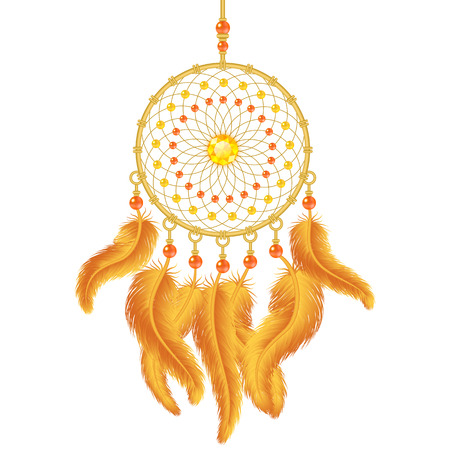 Golden dream catcher isolated on white. Vector illustration