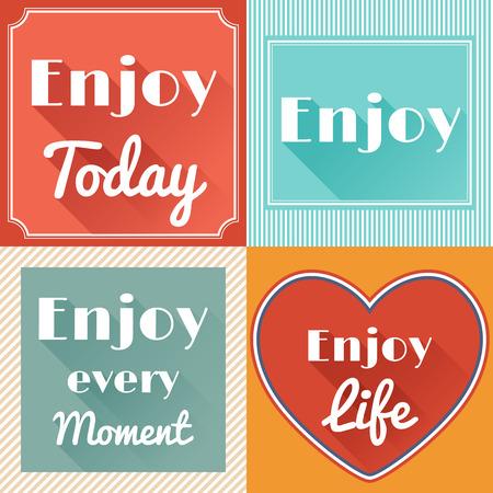 enjoy life: Set di Enjoy Life Cards Retro Motivare in stile piatto con lunghe ombre. Vector Design Vettoriali
