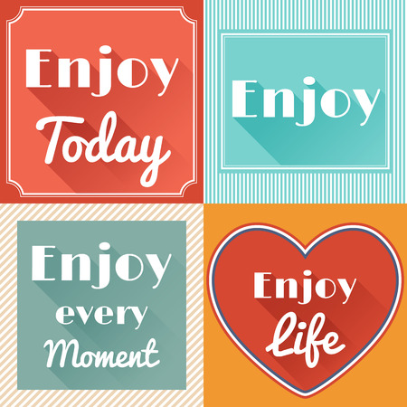 every: Set of Enjoy Life Motivating Retro Cards in Flat Style with Long Shadows. Vector Design