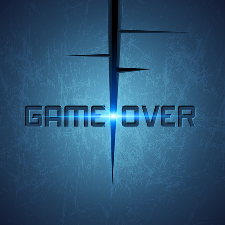 vector message: Vector Message: Game Over on Dark Cracked Background with Glow Illustration