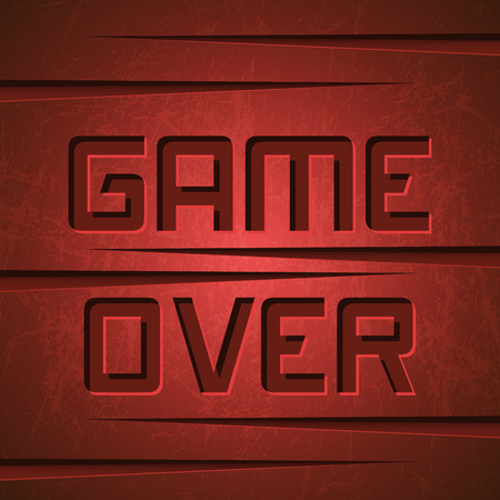 red: Vector Message: Game Over on Red Cracked Background Illustration