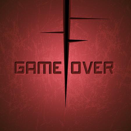 message vector: Vector Mensaje: Game Over en fondo rojo agrietado