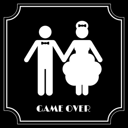 jeu de carte: Symbole de mariage drôle - Game Over. Vector illustration