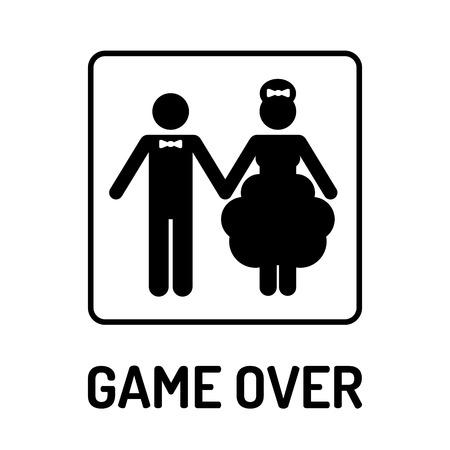 Cartoon Funny Wedding Symbol - Game Over. Vector illustration
