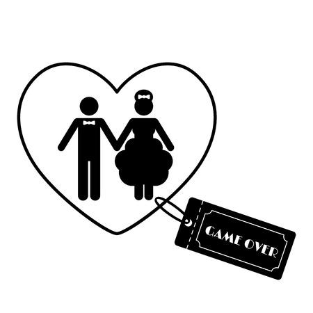 Cartoon Funny Wedding Symbols - Game Over. Vector illustration