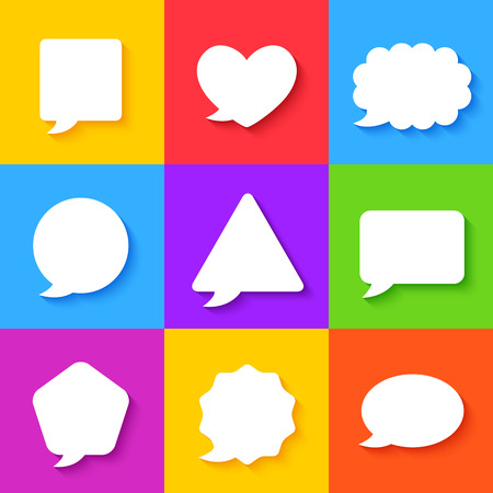 Blank Empty White Speech Bubbles on Colorful Backgrounds. Vector Set Vector