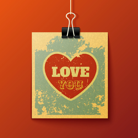 love message: Hanging Love You Textured Retro Card. Vector Design