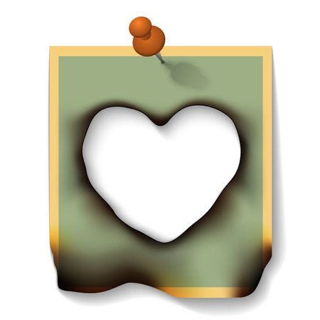burnt paper: Burnt Paper Card with Hole Heart Shaped Isolated on White Background. Vector Illustration