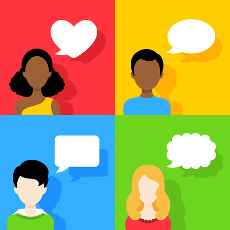 People icons with dialog speech bubbles on colorful backgrounds. Vector design Vector