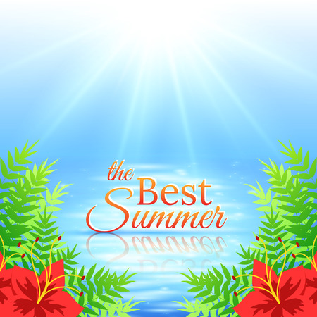 Colorful Summer Sea Background with Shiny Water Surface and Flowers. Vector illustration Vector