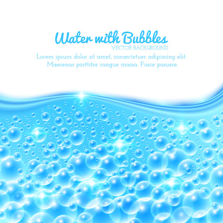 Shining Underwater Background with Bubbles. Vector illustration Çizim