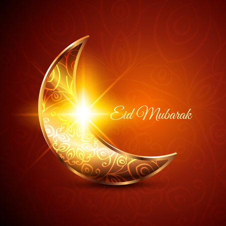 Golden Moon for Muslim Community Festival Eid Mubarak on Dark Background. Vector Design