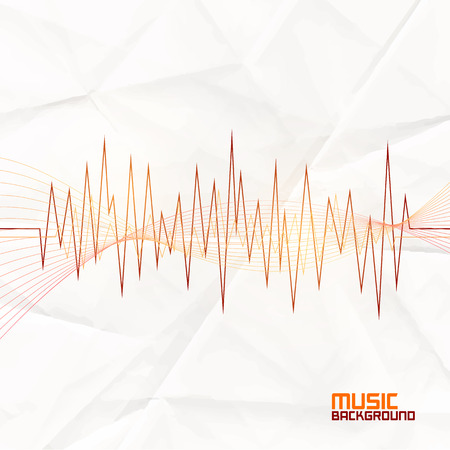 amplify: Sound Wave on Paper Background. Abstract Equalizer. Template for Music Themes Illustration