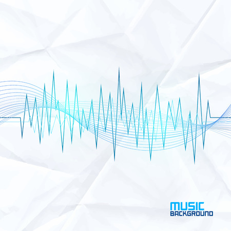 Sound Wave on Paper Background. Abstract Equalizer. Template for Music Themes Vectores