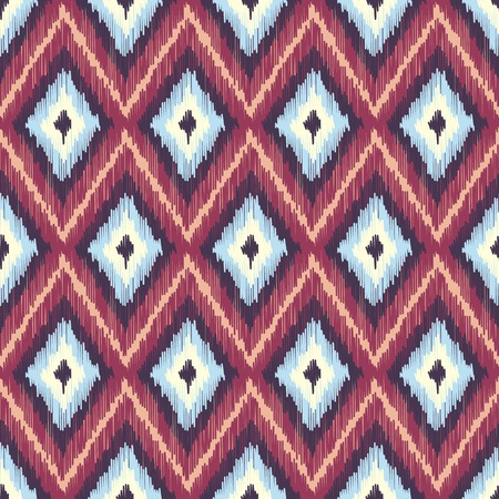 Abstract Modern Ethnic Seamless Fabric Pattern with Diamonds. Vector Illustration Vector