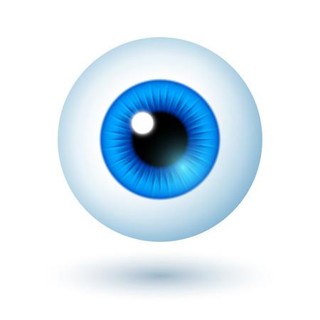 ojo azul: Cartoon Blue Eye aisladas sobre fondo blanco. Ilustraci�n vectorial