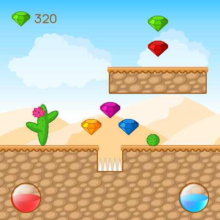 Arcade Game World. Cartoon Desert with Blocks, Diamonds. Vector Design Vector
