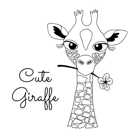 skecth: Cute Hand-drawn Cartoon Giraffe Holding a Flower Isolated on White Background