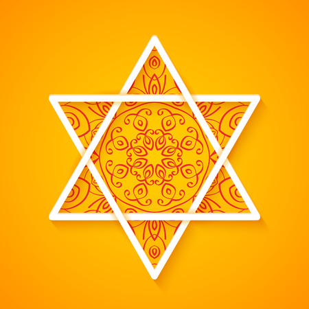 Star of David with Decorative Pattern on Colorful Orange Background. Vector Illustration Vector