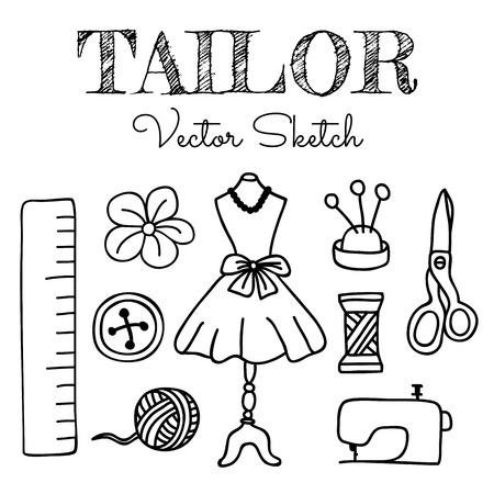 coser: Elementos Tailor dibujados a mano aisladas sobre fondo blanco. Ilustración vectorial para sus diseños