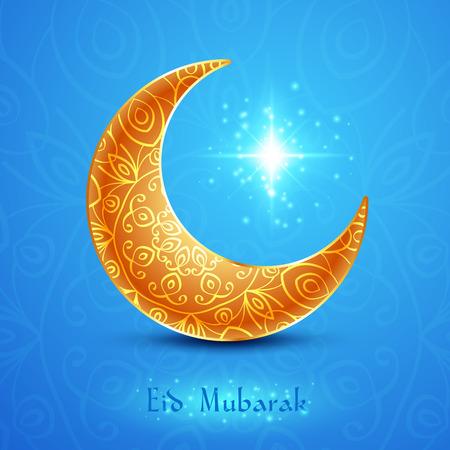 mubarak: Golden Moon for Muslim Community Festival Eid Mubarak on Blue Background. Vector Design