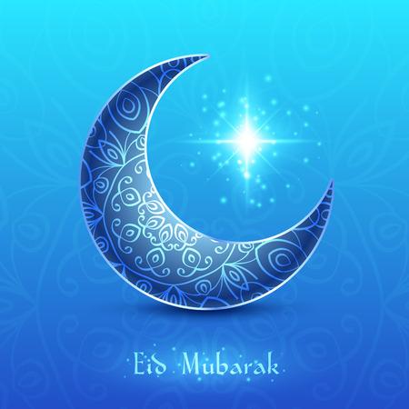 Moon for Muslim Community Festival Eid Mubarak on Blue Background. Vector Design Vectores
