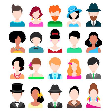 hombres jovenes: Conjunto de moda Piso iconos. Hombres y Mujeres Personajes aislado en blanco Vectores