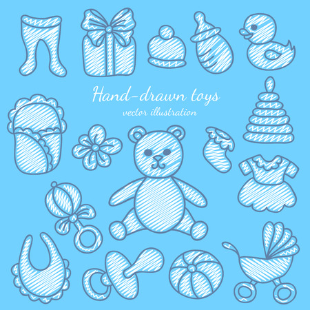 baby bear: Hand-drawn Baby Icons Set. Bear, Pacifier, Stroller and Baby Clothes.