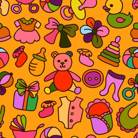 Baby Toys and Elements Colorful Seamless Pattern.  Vector