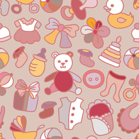 Baby Toys and Elements Seamless Pattern.  Vector