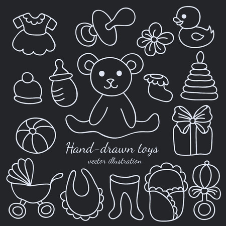 Hand-drawn Baby Goods and Toys Set.  Vector