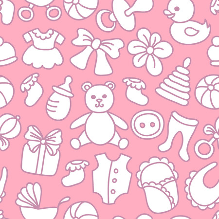 Baby Girl Seamless Pattern with Toys and baby Goods.  Illustration