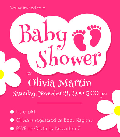 baby shower party: Pink Baby Shower Invitation Template. Vector illustration