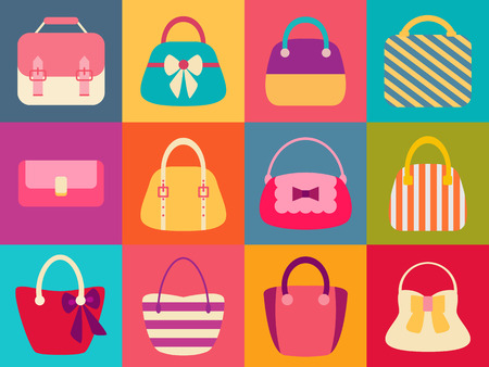 Collection of Retro Woman Bags. Colorful Flat Icons Set. Vector design Vector