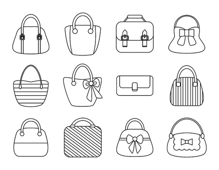 Collection of Female Bags Isolated on White Background. Sketch elements. Vector Design Vector