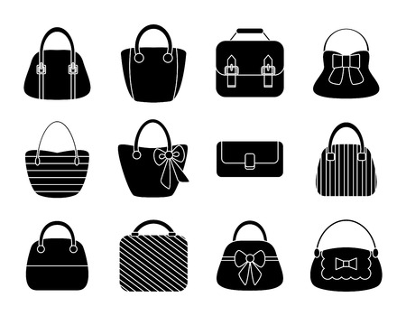 Collection of Female Bags Isolated on White Background. Vector Design Vector