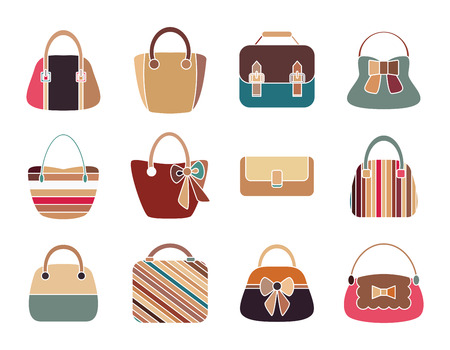 Collection of Retro Woman Bags Isolated on White Background. Colorful Icons Set. Vector Design Vector
