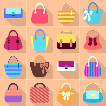 mujer con maleta: Colecci�n de mujer retro Bolsas. Iconos coloridas conjunto con largas sombras. Dise�o vectorial Vectores