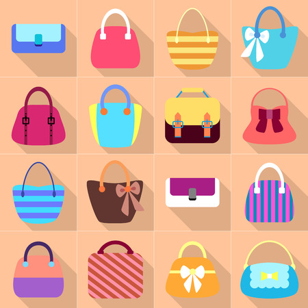 vintage woman: Collection of Retro Woman Bags. Colorful Icons Set with Long Shadows. Vector Design Illustration