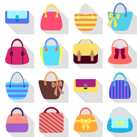 Collection of Retro Woman Bags Isolated on White Background. Colorful Icons Set with Long Shadows. Vector Design Vectores