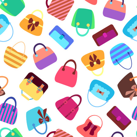 Retro Woman Bags. Colorful Seamless Background. Vector Design