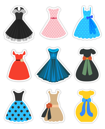 Retro Dresses Set. Fashion 1950s. Vector Stickers Isolated on White. Part 1 of 3