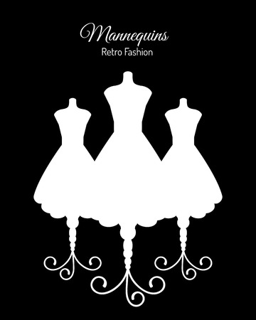 boutique display: Fashion Background with White Silhouettes of Mannequins. Vector illustration