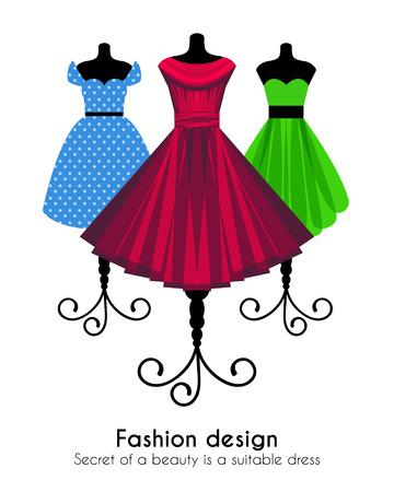 Fashion Achtergrond met kleurrijke jurken op de Mannequins. Vector illustratie