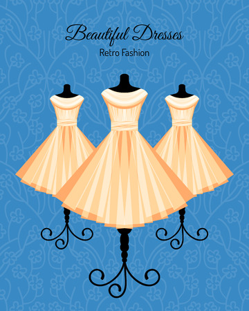 Beautiful Fashion Background with Dresses on the Mannequins. Vector illustration