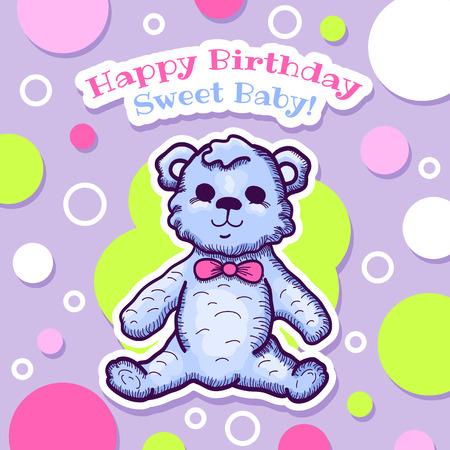 Colorful Happy Birthday Baby Card Design With Teddy Bear Vector
