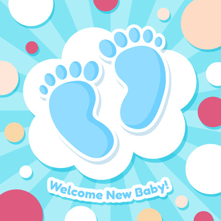 Welcome Baby Card. Blue cute vector illustration with baby sole