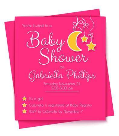 invitacion baby shower: Plantilla de la invitaci�n rosada de la ducha de beb�. Ilustraci�n vectorial