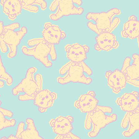 baby bear: Seamless Baby Background with hand drawn teddy bear. Vector illustration